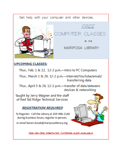 Free Computer Classes at Mariposa County Library